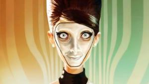 Bild från We Happy Few där en dam bär mask och gör en läskig grimas.