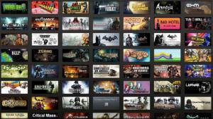 Ett kollage av flera Steam-spel i ett rutnät.