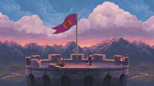 Skärmdump från Chasm föreställande ett torn i solnedgången.