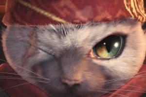 En bild från Monster Hunter: World som visar en närbild på en kissekatt.