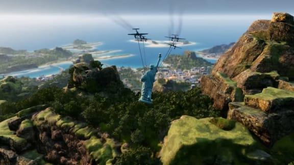 Ny Tropico 6-trailer visar flygande frihetsgudinna