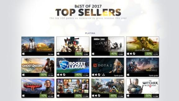 Valve avslöjar de 100 mest inkomstbringande Steamspelen 2017
