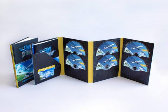 Den fysiska utgåvan av Microsoft Flight Simulator levereras på 10 dvd-skivor