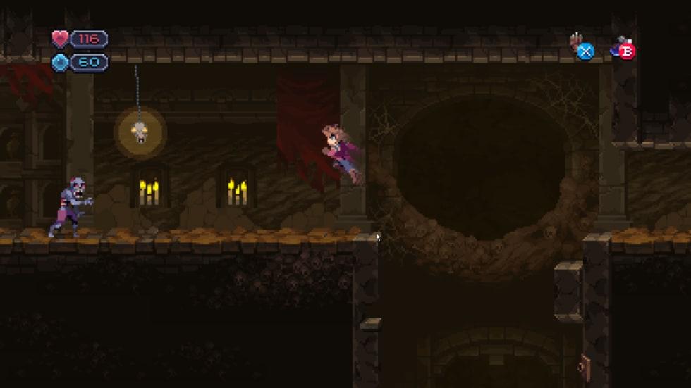 Skärmdump från Chasm i en läbbig grotta full av zombies och skelett.