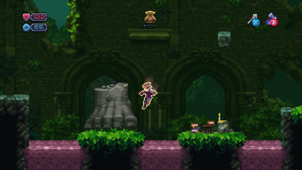 Skärmdump från Chasm där en karaktär hoppar i ett grönt landskap med giftiga vattendrag.