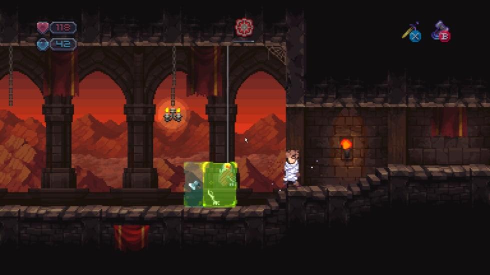 Skärmdump från Chasm med en gelatinös kub full av vapen.
