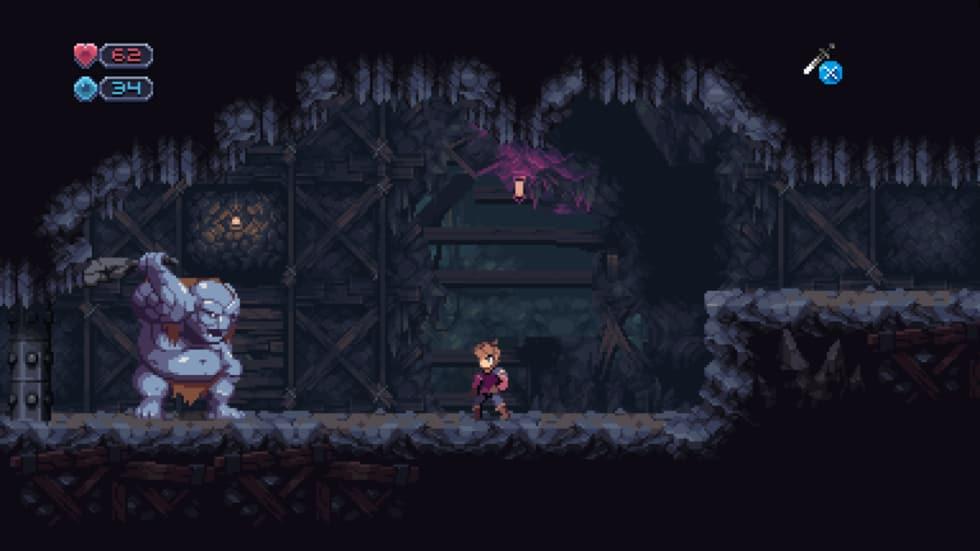 Skärmdump från Chasm där vår hjälte slåss mot ett nästan helt naket troll.