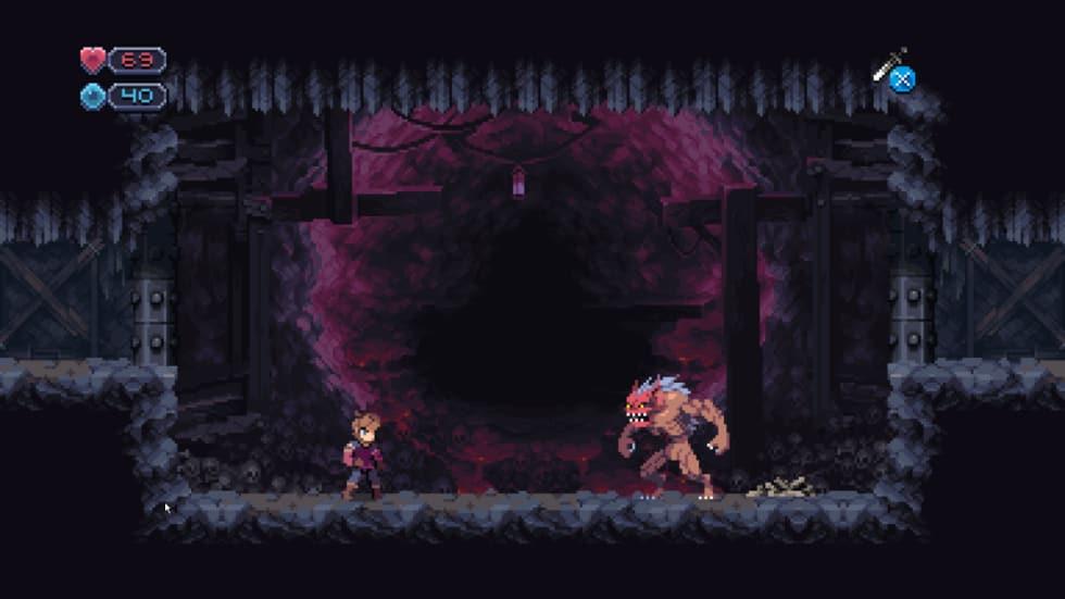 Skärmdump från Chasm där en arg boss står i en grotta med blödande väggar.