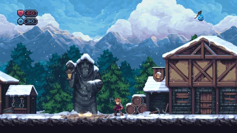 Skärmdump från Chasm föreställande en snötäckt by.
