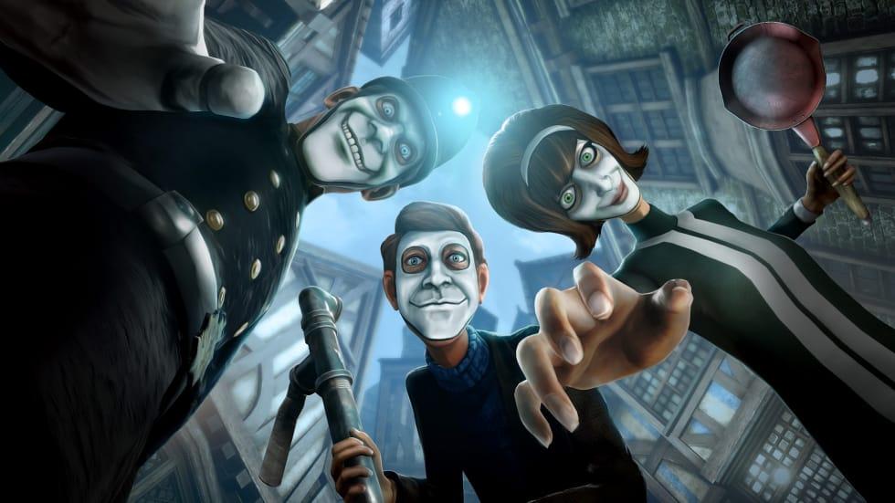 Konceptbild från We Happy Few där tre typer med läskiga leenden ser ner på spelaren.