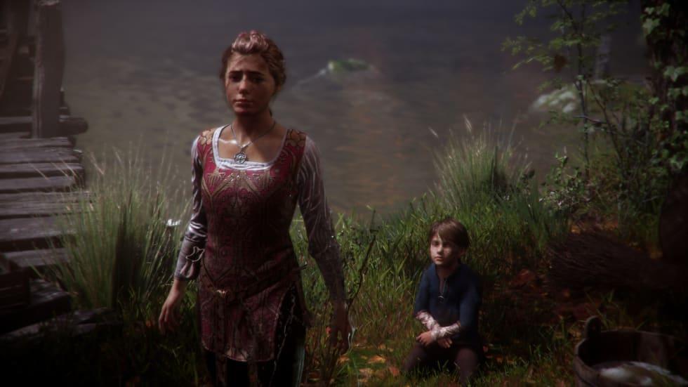Bild från A Plague Tale: Innocence där Amicia och Hugo vilar vid en flod.
