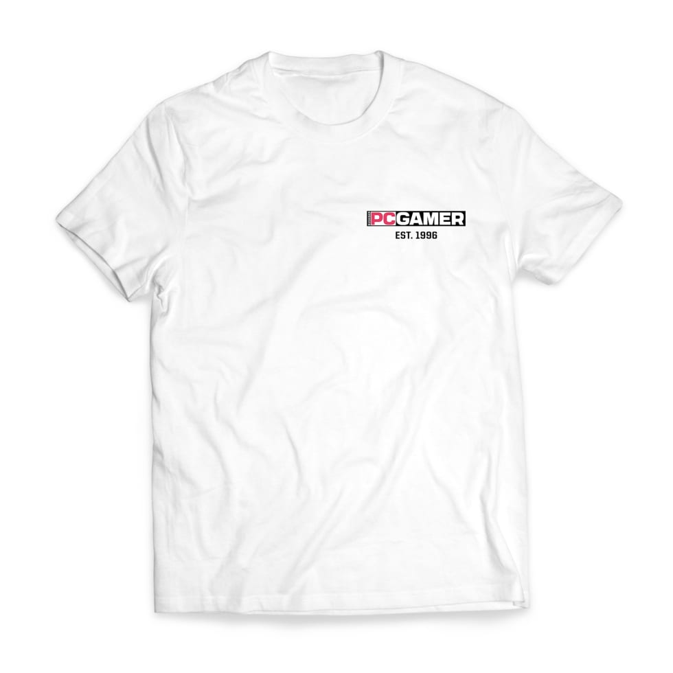 Bild på PC Gamers vita t-shirt.