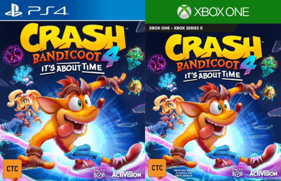Omslagen till Crash Bandicoot 4: It's About Time på Xbox One och Playstation 4.
