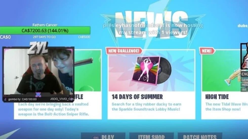 Pojke livestreamade Fortnite för att samla in pengar till sin cancersjuke far