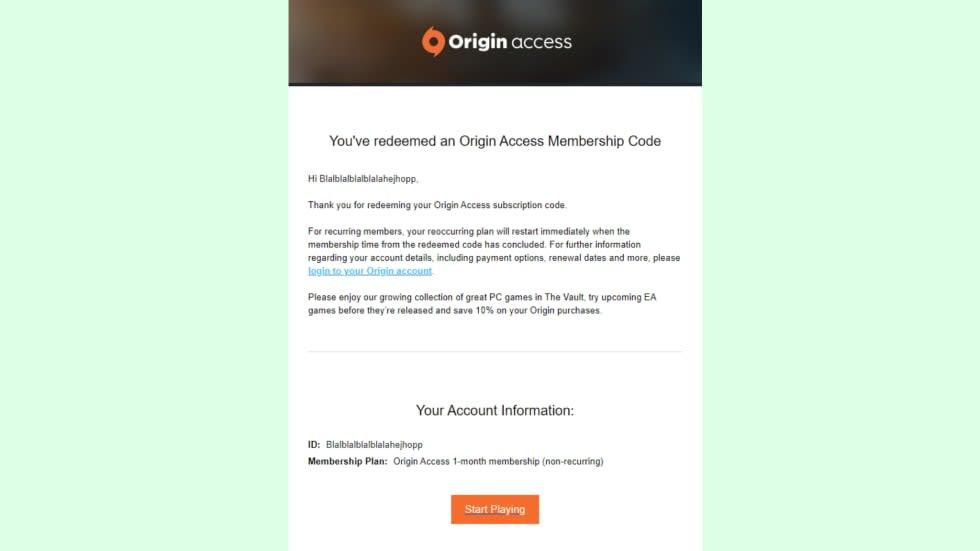 Aktivera kontoverifiering, få en månads Origin Access gratis