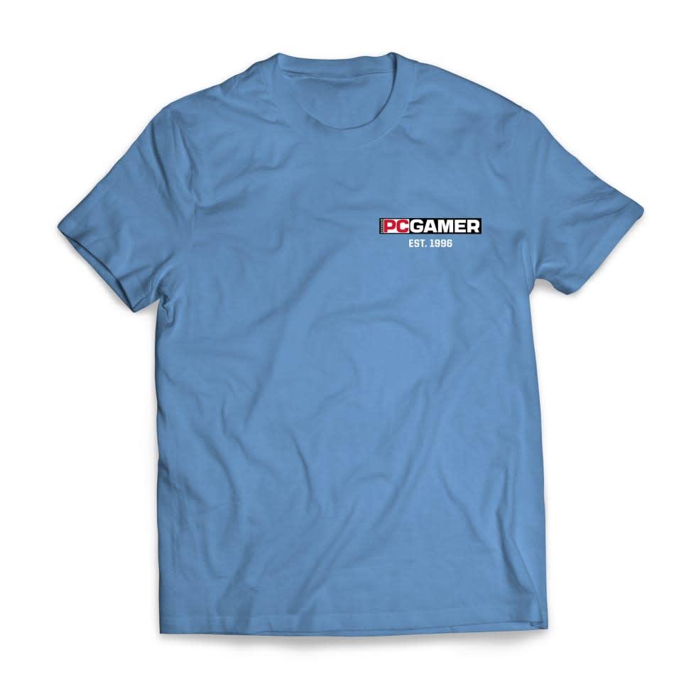 Bild på PC Gamers blåa t-shirt.