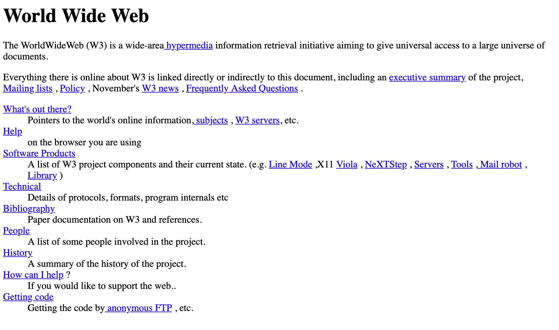 Imagem do primeiro website da internet, criado em 1991