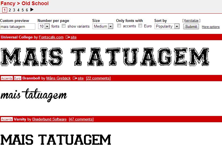 Fonte Old School para Tatuagens