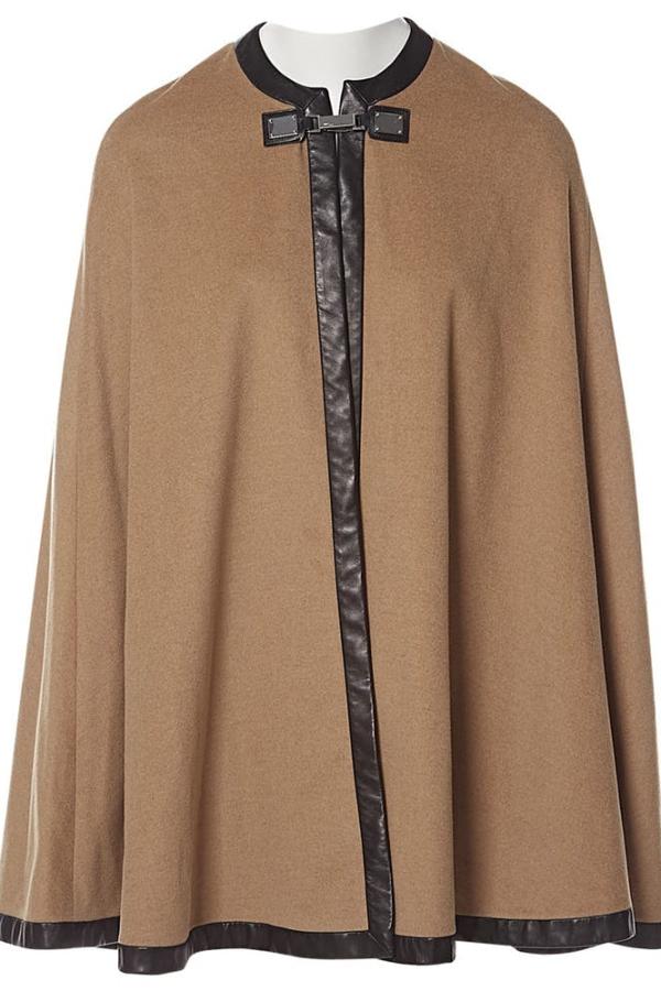 Ralph Lauren Beige Cashmere & Leather Cape 4