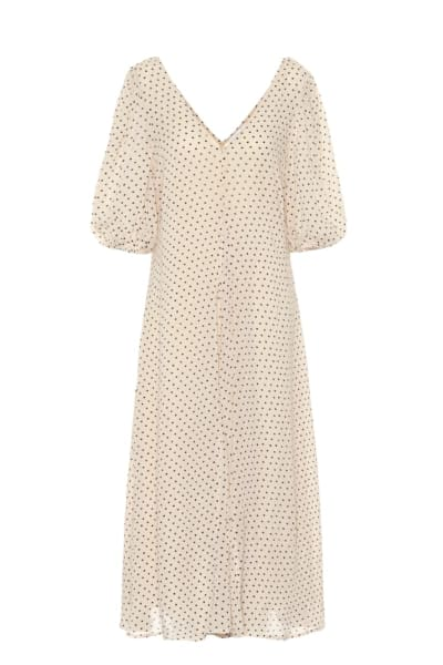 GANNI Crepe Polka Dot Dress