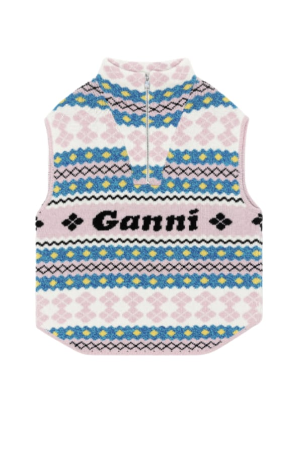 Ganni Branded-jacquard recycled wool 0 Preview Images