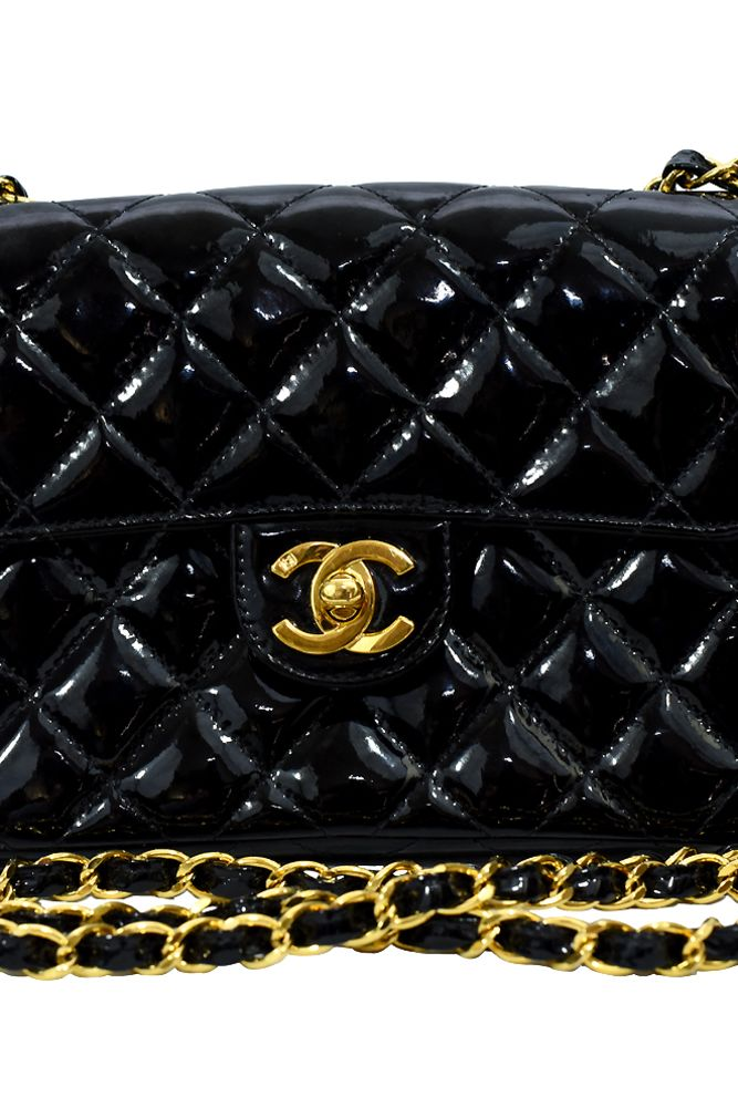 Chanel Black Single Flap Mini Patent Leather Handbag Small Size  Preview Images