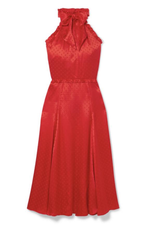 Alexa Chung Polka-dot silk-blend jacquard dress
