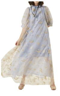 Manoush Blue gingham 'Vichy Star' Dress 5 Preview Images