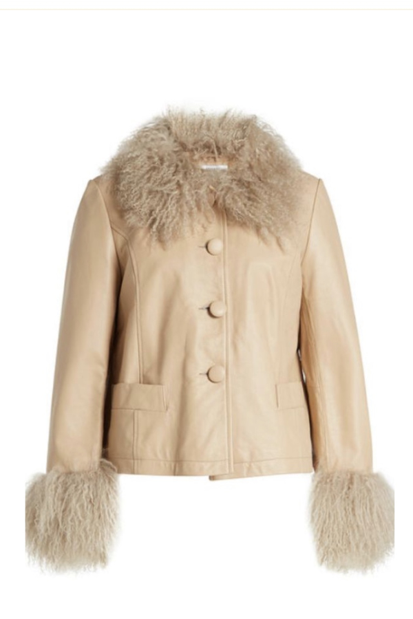 Saks Potts Shearling Trim Jacket