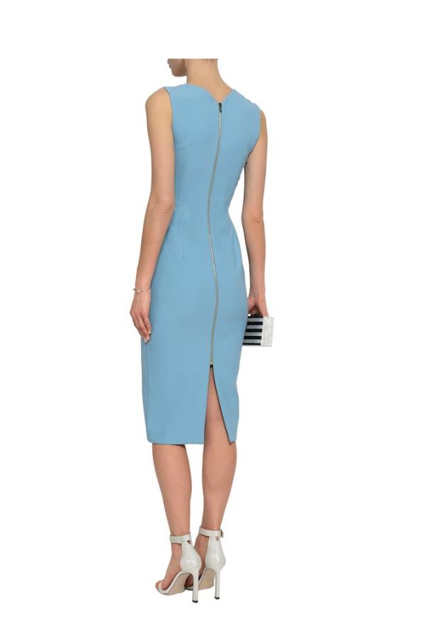 Roland Mouret Woven-trimmed paneled stretch-crepe dress 3