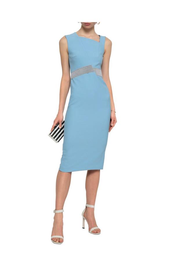 Roland Mouret Woven-trimmed paneled stretch-crepe dress 2