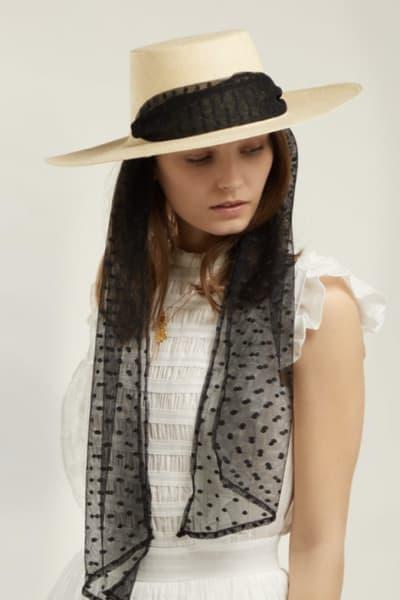 Sensi Studio Cordovez Swiss-dot tulle hat 2
