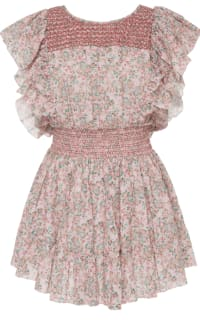 LoveShackFancy Marcella Ruffle Mini Dress in Pink Preview Images