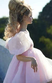 Selkie Pink Puff Mini Dress 4 Preview Images
