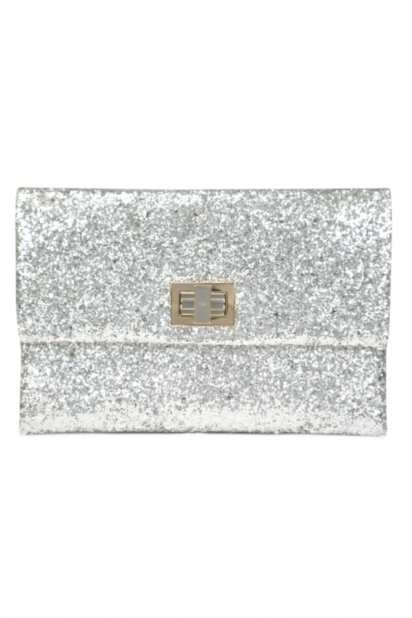 Anya Hindmarch Valorie Silver Glitter Clutch