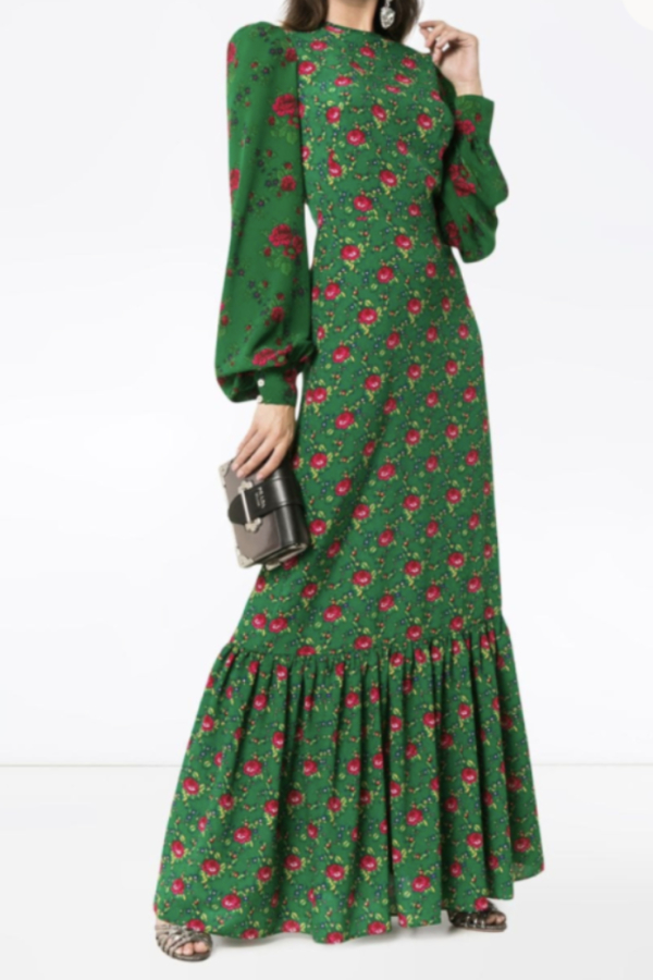 The Vampire's Wife Green Floral Maxi Dress 1 Preview Images