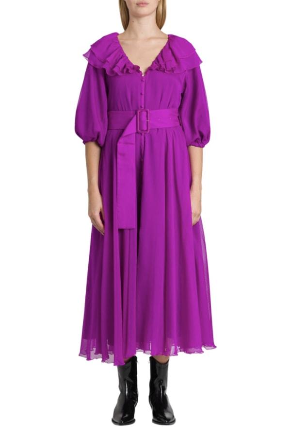 Image 2 of Rotate purple ruffle midi dress