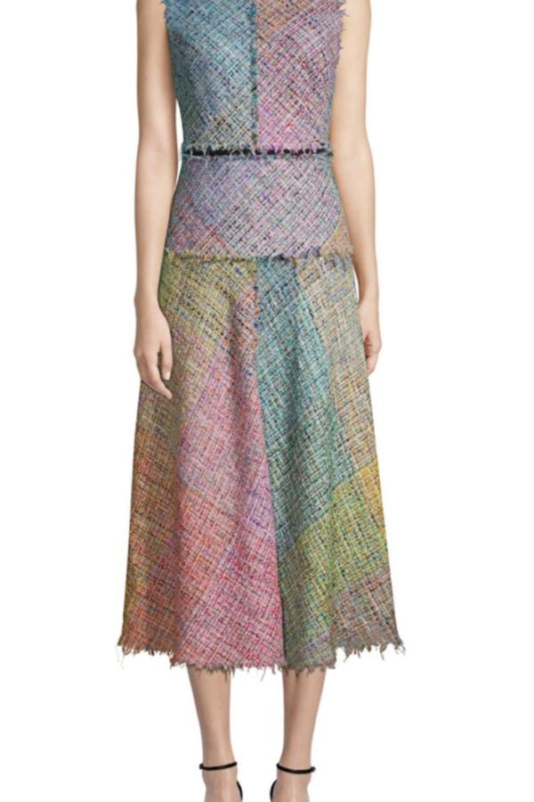 Escada Dalira Multicolor Tweed Midi Dress 4