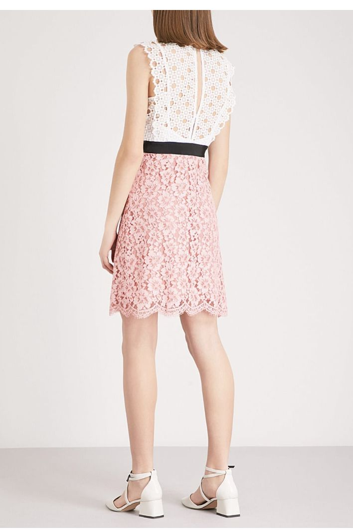 Sandro Cutout Sleeveless Embroidered Mini Pink White Dress 3 Preview Images