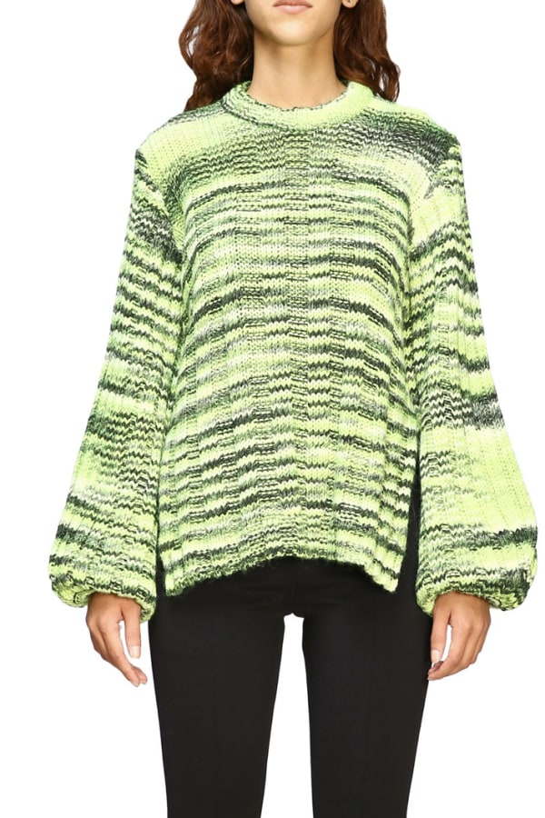 Ganni Green Balloon-sleeve Sweater 1 Preview Images