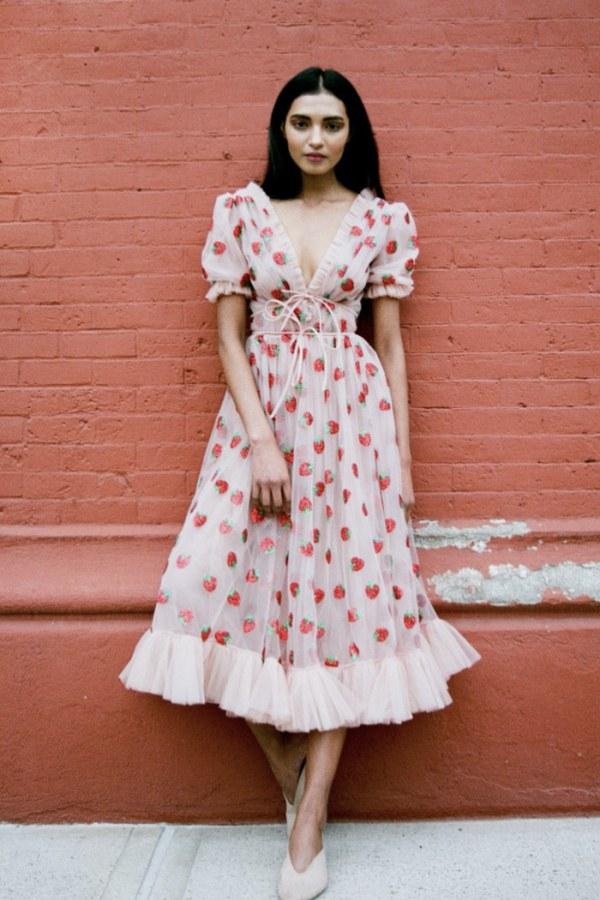 Image 2 of Lirika Matoshi strawberry midi dress