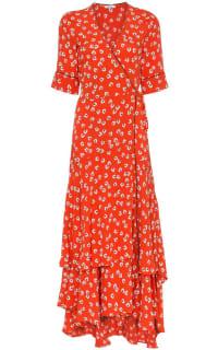 Ganni Floral-Print wrap maxi dress Preview Images
