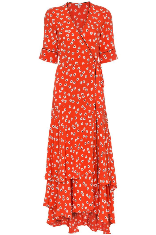 Ganni Floral-Print wrap maxi dress