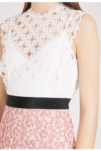 Sandro Cutout Sleeveless Embroidered Mini Pink White Dress 2