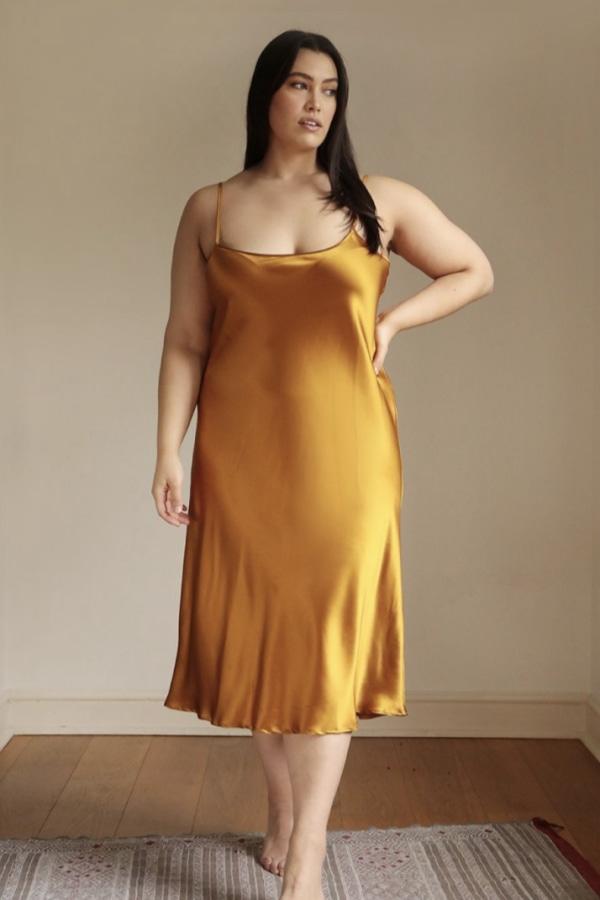 Image 1 of Lora Gene silk slip dress