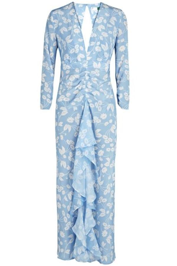 RIXO Daisy Blue V-Neck Dress 0 Preview Images