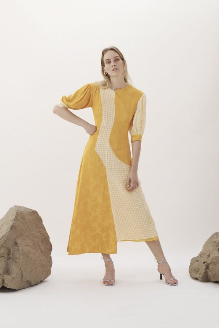 Rejina Pyo Dylan Dress Voile Check Yellow and Jacquard Marigold 2