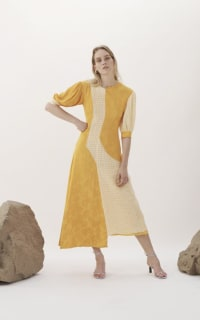 Rejina Pyo Dylan Dress Voile Check Yellow and Jacquard Marigold 2 Preview Images