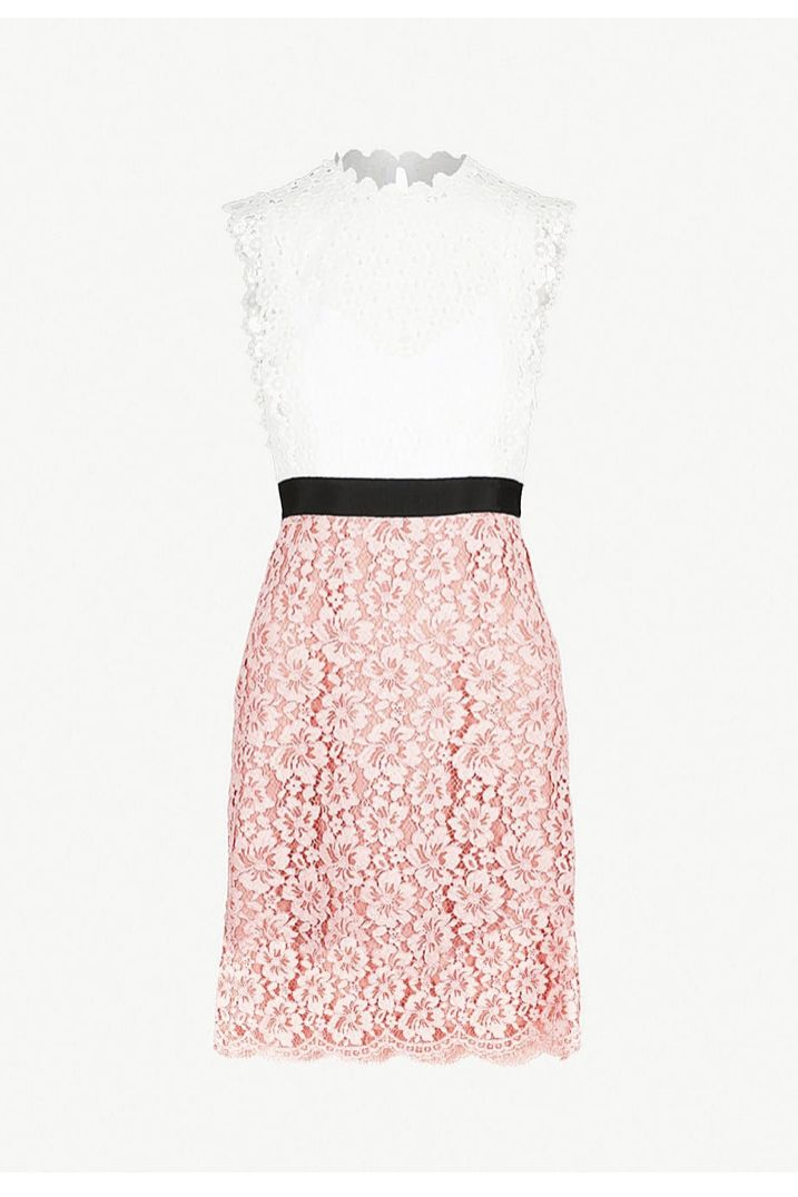 Sandro Cutout Sleeveless Embroidered Mini Pink White Dress Preview Images