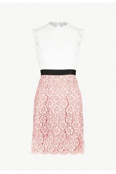 Sandro Cutout Sleeveless Embroidered Mini Pink White Dress